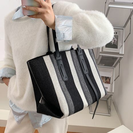 new trendy canvas women's large-capacity one-shoulder tote handbag  NHLH267414's discount tags
