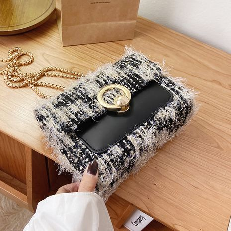 Autumn and winter new fashion portable plush shoulder messenger small square bag NHLH267470's discount tags