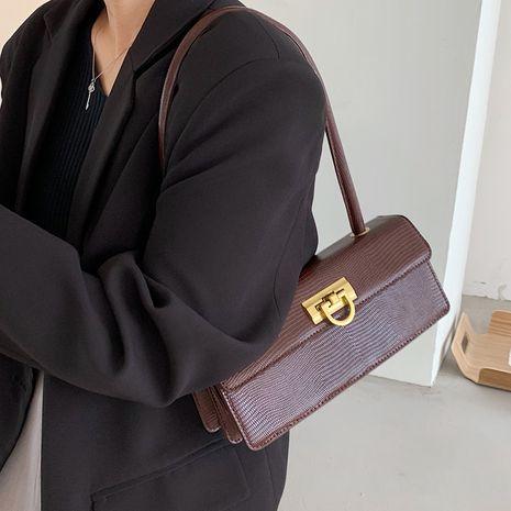Herbst neue einfache eine Schulter Achsel Retro Eidechse Muster Baguette Handtasche NHLH267493's discount tags