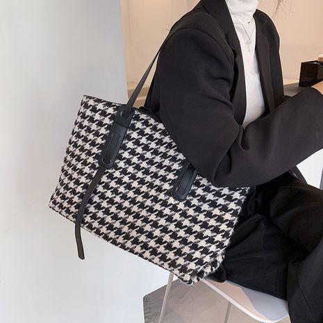 retro check ladies new trendy fashion shoulder wild tote bag NHLH267496's discount tags