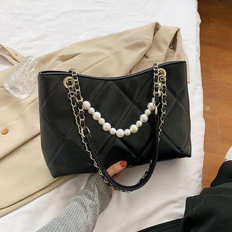 Pearl small texture retro shoulder bag NHJZ267574's discount tags