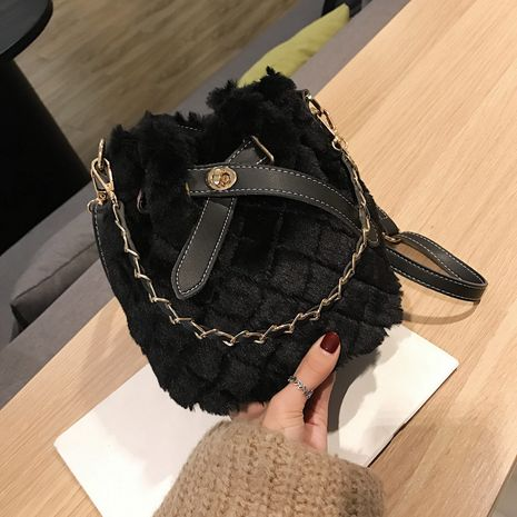autumn new trendy small fashion single shoulder messenger plush bucket bag NHTC267652's discount tags