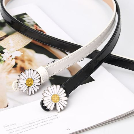 fashion ladies small daisy patent leather Korean casual sweater dress decoration thin all-match belt NHJN267045's discount tags