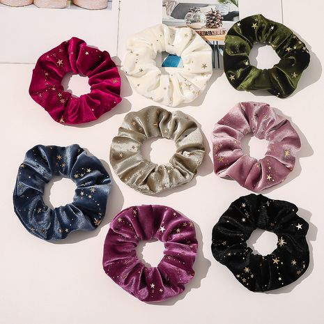 hot gold velvet hot blonde star hair scrunchies Korean flannel large hair accessories NHQC267720's discount tags