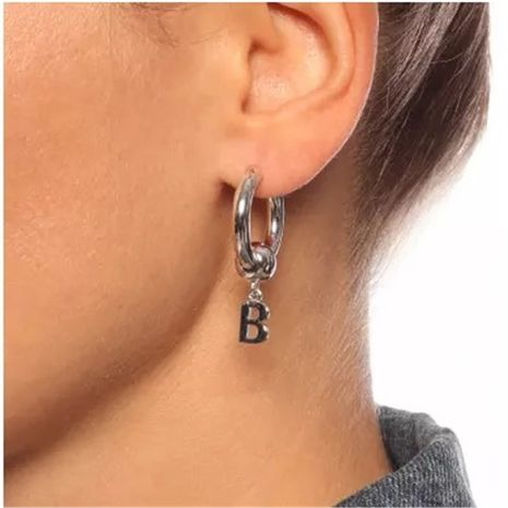 metal brass retro letter B pendant hoop earrings NHYQ267748's discount tags