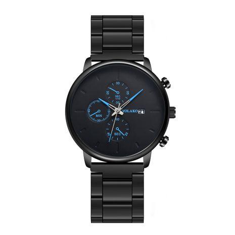 correa de acero negro moda calendario simple reloj de correa de acero para hombres NHSS267767's discount tags