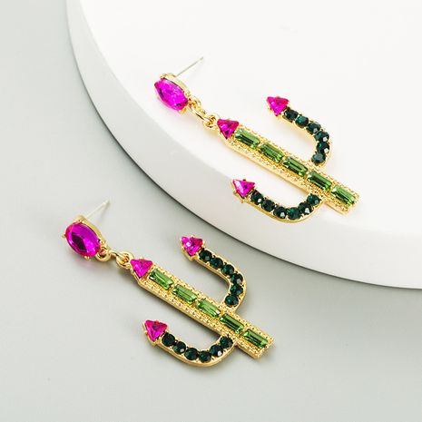 cactus alloy inlaid rhinestones S925 silver needle hypoallergenic long earrings NHLN267775's discount tags