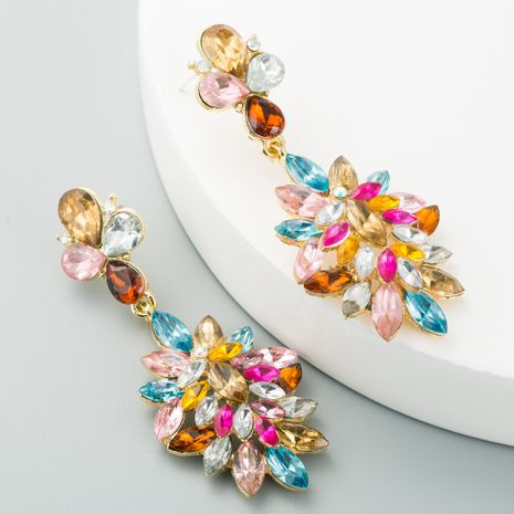 new  long alloy flower-shaped  earrings  NHLN267782's discount tags