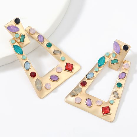 Fashion  simple trapezoidal alloy diamond acrylic geometric earrings  NHJE267786's discount tags