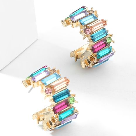 Fashion color diamond  alloy diamond-studded acrylic  C-shaped earrings  NHJE267788's discount tags