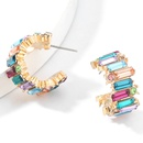 Fashion color diamond  alloy diamondstudded acrylic  Cshaped earrings  NHJE267788