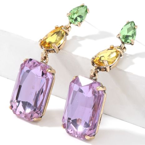 Fashion color diamond  alloy  multi-layer geometric earrings  NHJE267790's discount tags