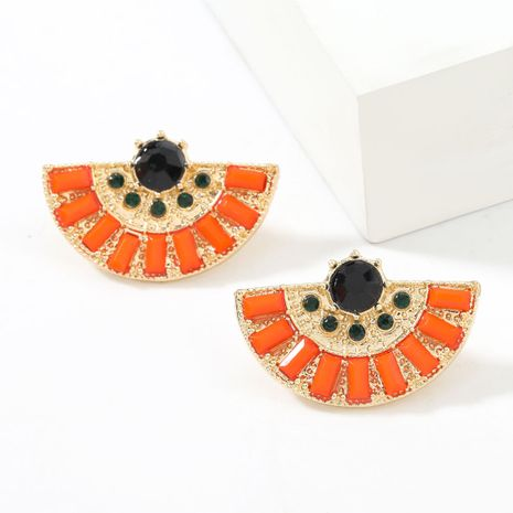 Fashion simple alloy diamond-studded acrylic fan-shaped earrings  NHJE267791's discount tags