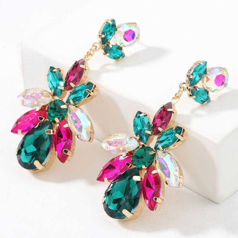 Fashion  multi-layer alloy  diamond geometric flower earrings  NHJE267795