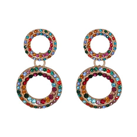 street style studded with diamond round retro hollow geometric circle earrings NHJJ267797's discount tags