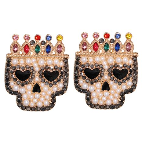 Halloween Crown Acrylic Skull Pendant Earrings NHJJ267799's discount tags