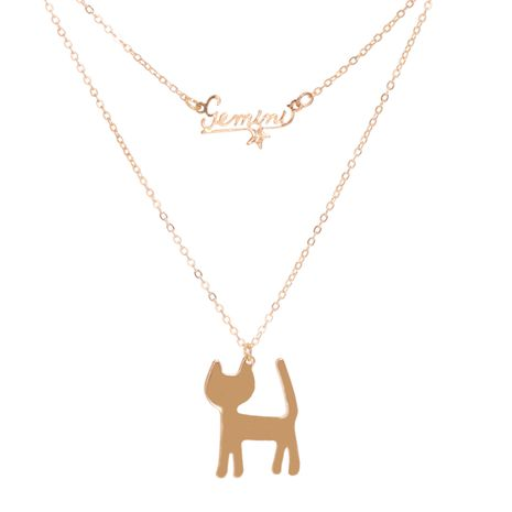 Korean electroplating English cat pendant personalized necklace set NHJJ267807's discount tags