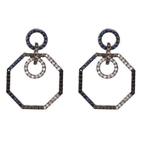 retro geometric octagonal diamond exaggerated earrings wholesale NHJJ267812's discount tags