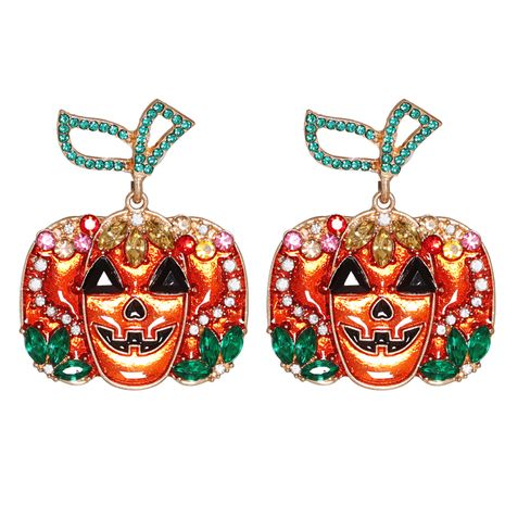 hip hop horror Halloween orange pumpkin ghost combination earrings NHJJ267825's discount tags