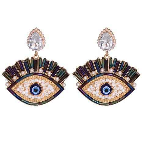Boucles oreilles diamant colorées incrustées en alliage de perles exagérées oeil de démon NHJJ267826's discount tags