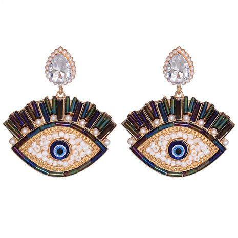 Exaggerated Demon Eye Pearl Alloy Inlaid Colorful Diamond Earrings NHJJ267826's discount tags