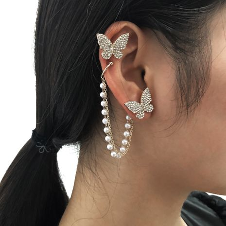 venta caliente asimétrico perla mariposa pendientes dulces al por mayor NHMD267866's discount tags