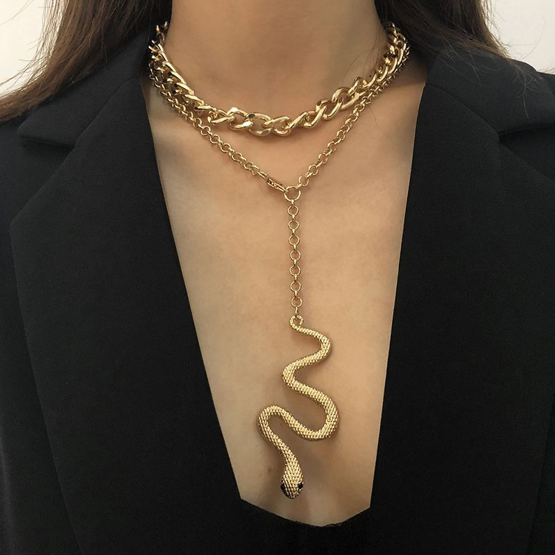 exaggerated multilayer creative zodiac snake pendant hiphop necklace wholesale NHMD267869