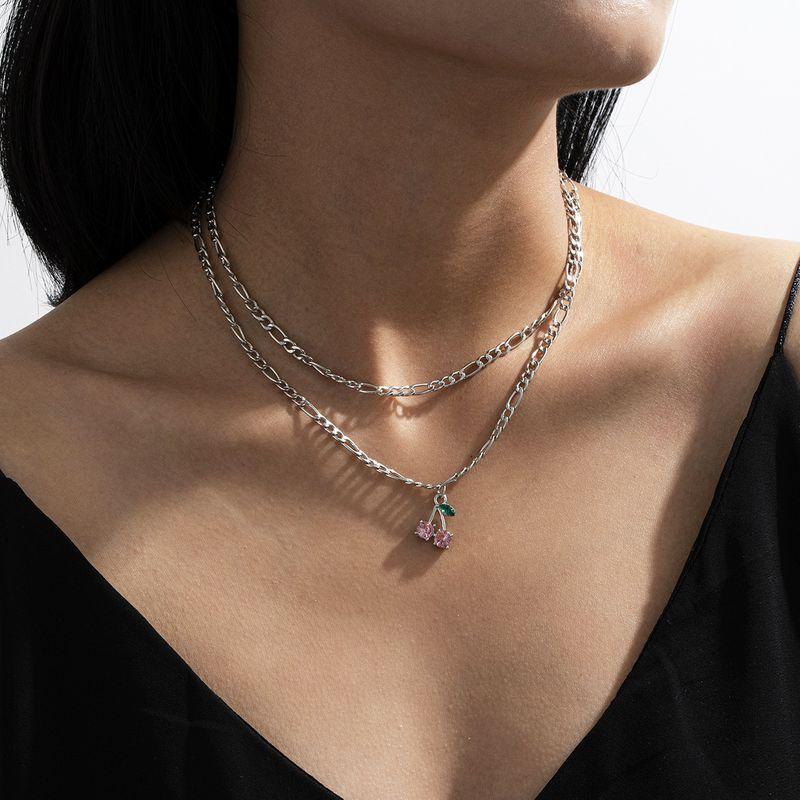 fashion jewelry creative glass rhinestone simple cherry necklace set NHXR267870