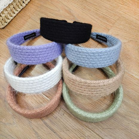 Korean  knitted flat wide-brimmed corn kernel rabbit  hairband NHUX267878's discount tags