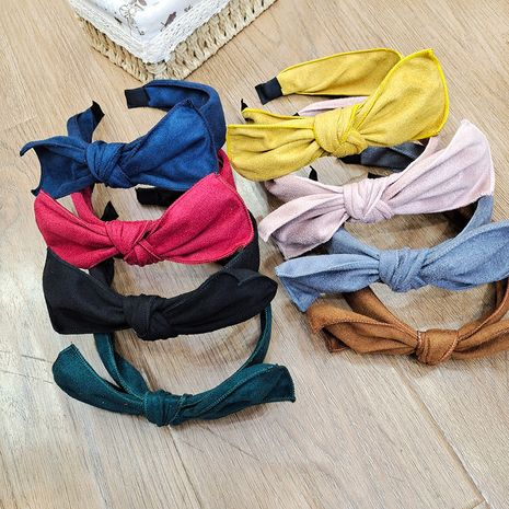 Korean new bow-knot wide-brimmed fabric suede pure color simple headband  NHUX267882's discount tags