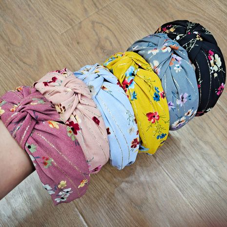 Korean floral bronzing simple fabrics wide-brimmed hair bands NHUX267885's discount tags