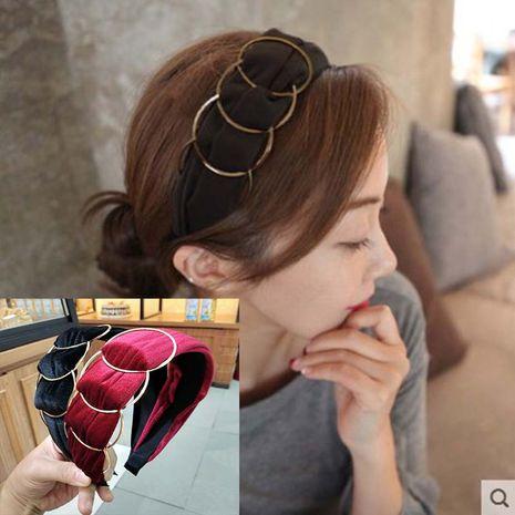 Korean metal ring gold velvet wide-brimmed fabric headband  NHUX267892's discount tags