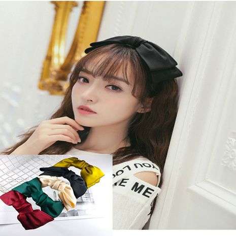 Korean oversized bow chiffon pure color fabric headband  NHUX267893's discount tags