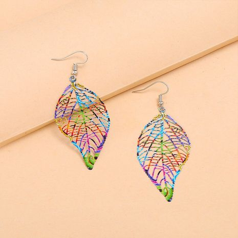 fashion retro colorful spray paint hollow leaf new bohemian ethnic earrings NHKQ267919's discount tags