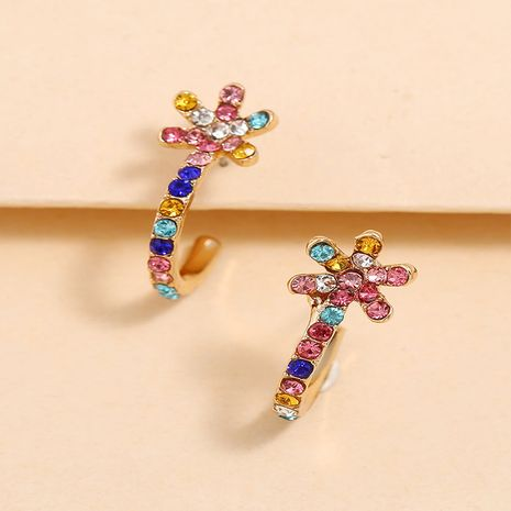 Super flashing colorful diamond flower fashion creative simple C-shaped earrings NHKQ267936's discount tags