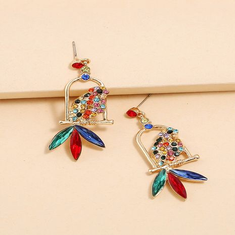 creative exaggerated diamond fashion retro colorful parrot earrings NHKQ267937's discount tags