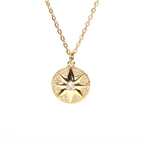 Coin Disc Zircon Compass Pendant Fashion Meteor Necklace NHPY267945's discount tags