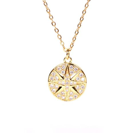 New round coin diamond pendant creative compass necklace  NHPY267962's discount tags