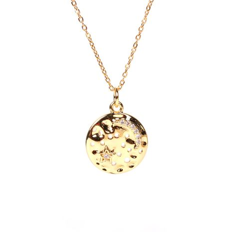 Creative new star and moon round coin diamond pendant clavicle necklace  NHPY267971's discount tags