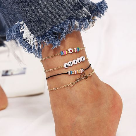 Beach Bohemia handmade soft ceramic letter creative rice bead anklet 4-piece set  NHLA267974's discount tags