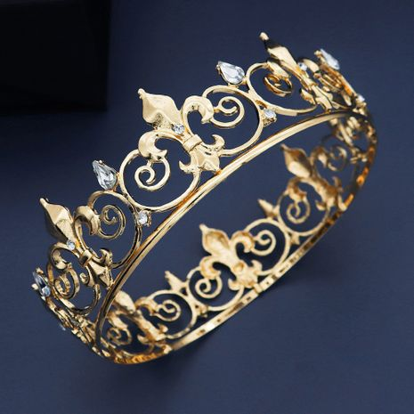 Baroque round gold rhinestone alloy crown   NHHS267994's discount tags