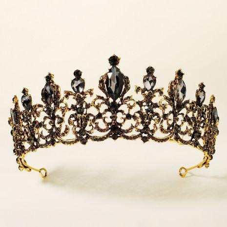 Black retro rhinestone hollow crown  NHHS267999's discount tags