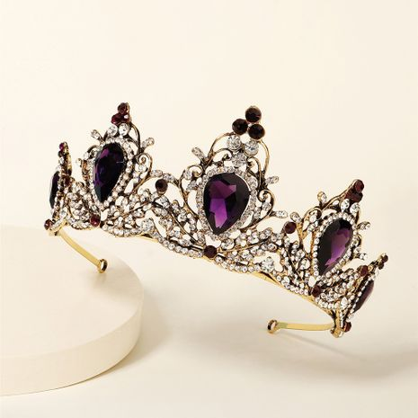 bridal wedding palace style retro crown amethyst alloy diamond crown NHHS268003's discount tags