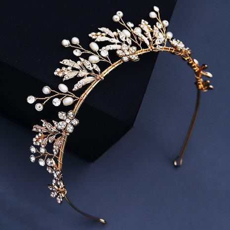 Creative wedding hand erected crown  dress  handmade flower pearl headband NHHS268004's discount tags
