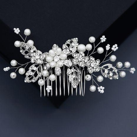 wedding bridal headdress alloy rhinestone handmade pearl hair comb  NHHS268005's discount tags