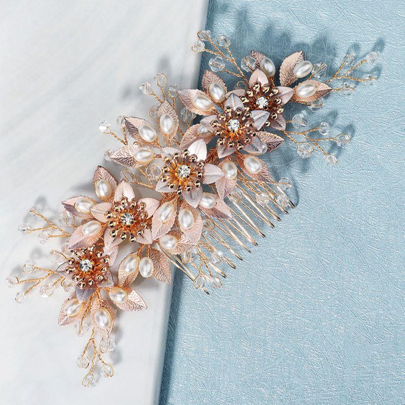 Korean New  Wedding  Antique Pearl Handmade Flower Bride Wedding Dress Hair Insert Comb NHHS268011