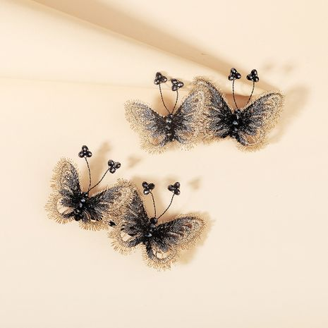 Crystal  retro three-dimensional embroidery butterfly hairpin  NHHS268015's discount tags