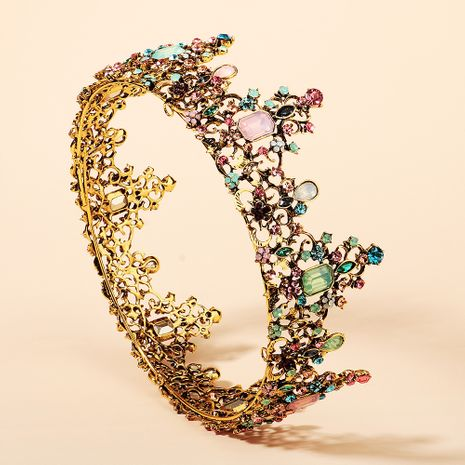 Baroque Color Diamond Alloy  Bride Retro Round Crown NHHS268017's discount tags