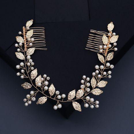 nouvelle paire de perles de mariage à la main longue peigne à feuilles d'or NHHS268019's discount tags