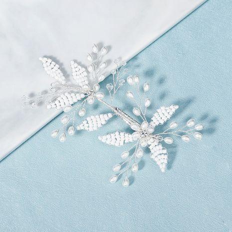 Korean bride headdress handmade beaded rhinestone side clip  NHHS268023's discount tags